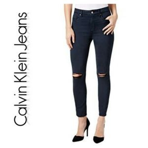 Ripped Colored Ankle Skinny Pants